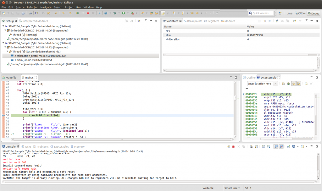Debugging the STM32F4 using openocd, gdb and Eclipse